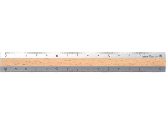 デザインフィル アルミ&ウッド定規(15cm)うす茶 42257006